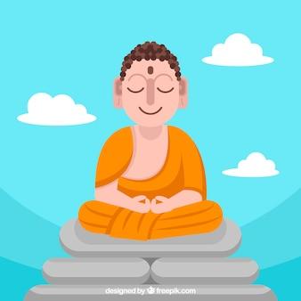 Budha adorable con diseño plano