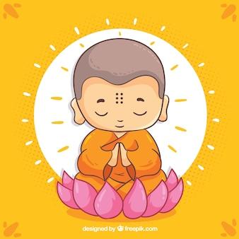 Budha dibujado a mano con cara sonriente
