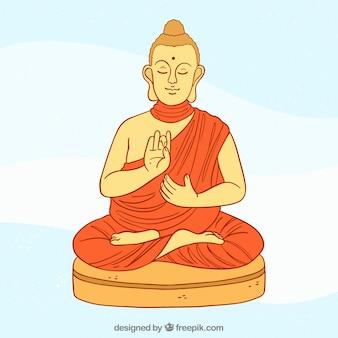 Budha dibujado a mano con estilo colorido