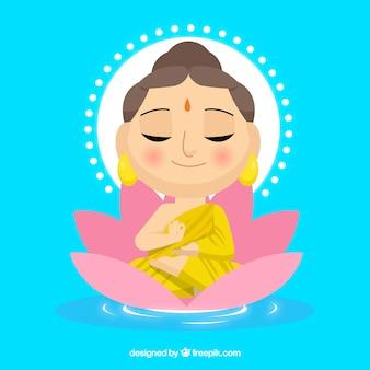 Budha femenina con diseño plano