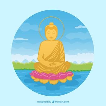 Budha tradicional con diseño plano