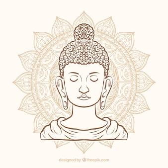 Budha tradicional con estilo de dibujo a mano