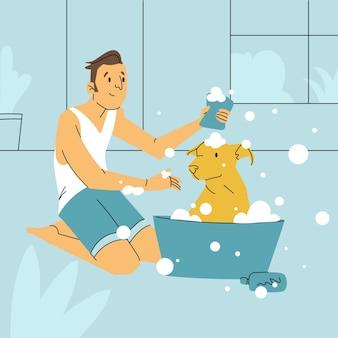 Buen chico perro tomando un baño