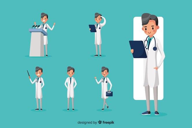Buen doctor haciendo diferentes acciones