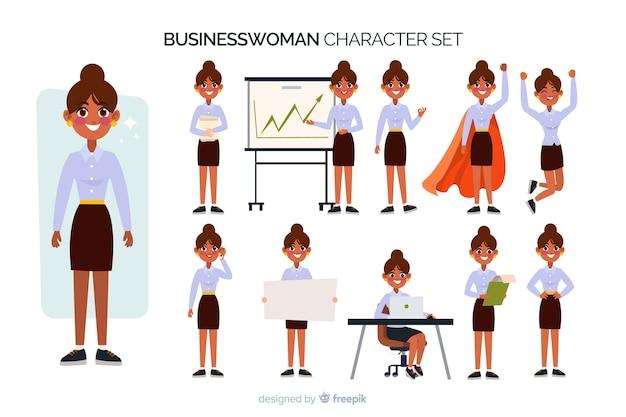 Buen juego de caracteres de empresaria