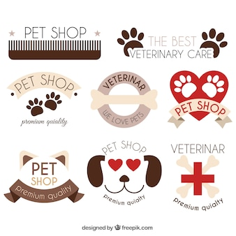 Buen paquete de logotipos con elementos de animales