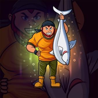 El buen pescador con big fish esport logo diseño de ilustración