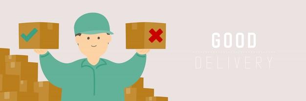 Buen repartidor revisando la caja de mercancías, distanciamiento social mantenga la distancia a la protección brote de covid-19 quedarse en casa concepto de compra en línea