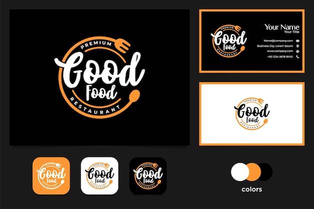 Buena comida diseño de logotipo vintage y tarjeta de visita.