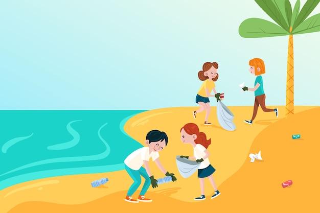 Buena gente ilustrada limpiando la playa