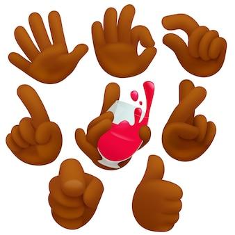 Buena suerte, ok, thubs up y otra colección de gestos. manos de piel oscura. estilo de dibujos animados en 3d.