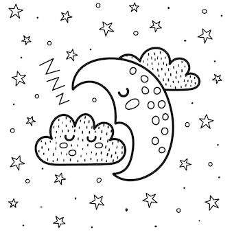 Buenas noches para colorear con una linda luna y una nube durmiendo. fondo de fantasía en blanco y negro. dulces sueños imprimen para colorear libro para niños. ilustración