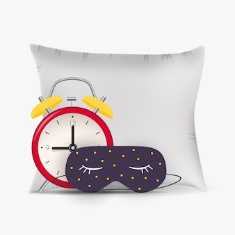 Buenas noches fondo abstracto con máscara para dormir divertida, despertador y almohada.
