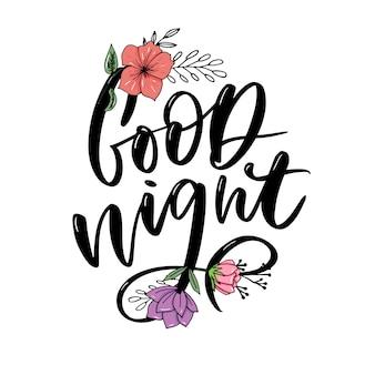 Buenas noches. letras de tipografía dibujada a mano