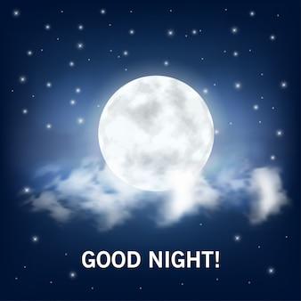 Buenas noches. luna realista y nubes.
