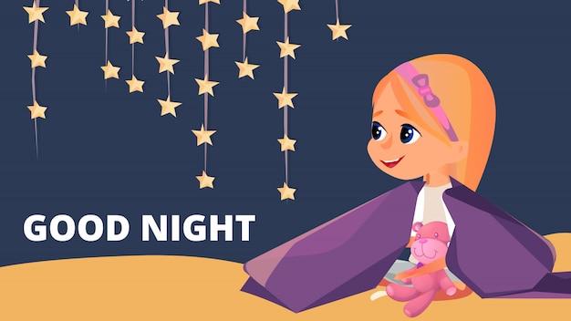 Buenas noches, niña en pijama, sentada en manta.