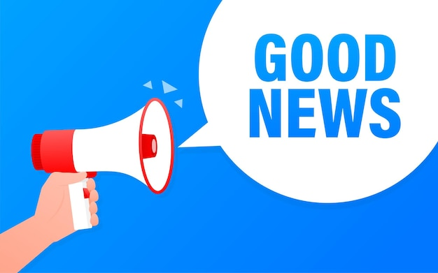 Buenas noticias megáfono banner azul