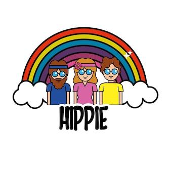 Buenas personas hippies con arco iris y nubes