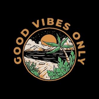 Buenas vibraciones, solo diseño de placa vintage.