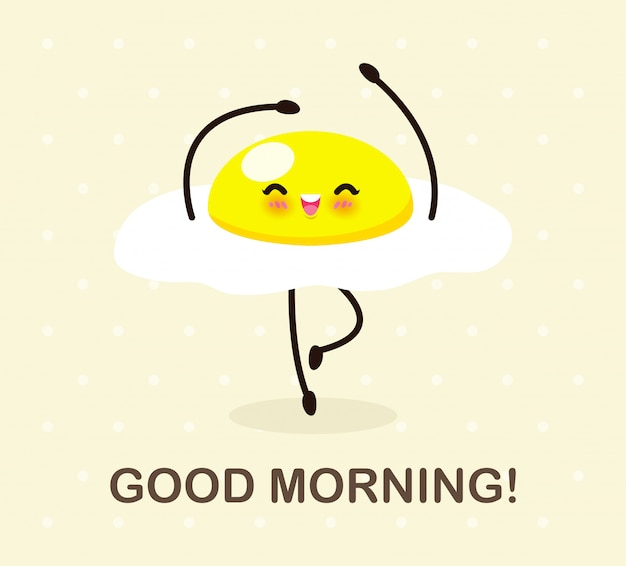 Buenos días comida divertida, lindo huevo frito bailando aislado