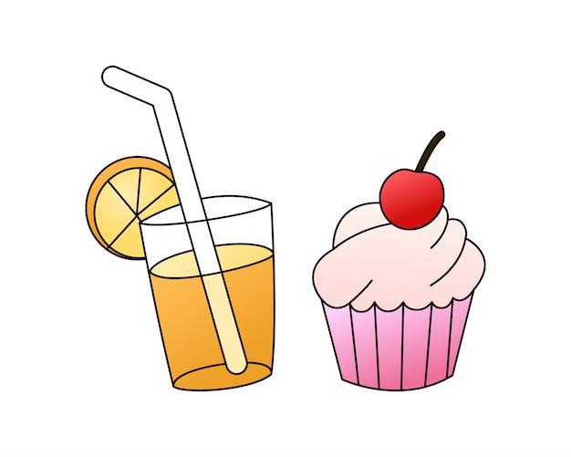 Buenos días desayuno con cupcake y jugo de naranja.