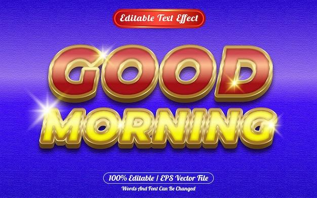 Buenos días efecto de texto editable tema dorado.