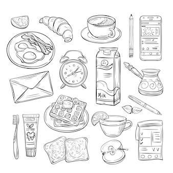 Buenos días garabato desayuno saludable, feliz estado de ánimo del día de verano. conjunto de dibujo de croquis