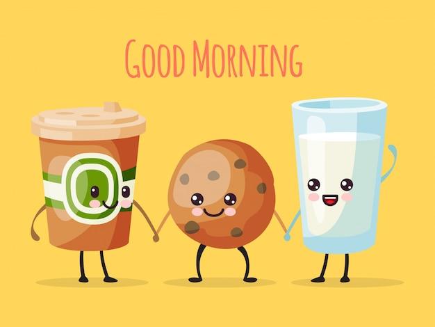 Buenos días personaje de dibujos animados divertido, taza de té café, galleta dulce galleta y vaso de leche ilustración. dibujado persona alegre.
