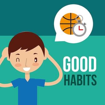Buenos hábitos saludables niño y niña