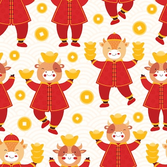 Buey año nuevo chino 2021. toro de patrones sin fisuras en ropa roja tradicional con monedas de oro y barras;