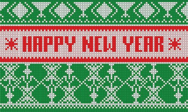 Bufanda rayada del modelo del puente de la feliz año nuevo aislada