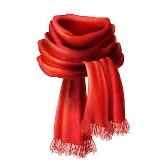 Bufanda roja de seda realista 3d. tejido de punto, lana de alpaca para el invierno
