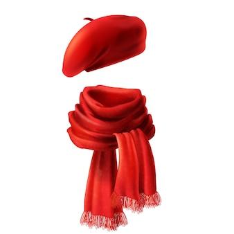 Bufanda y sombrero rojos de seda realistas 3d - sombrero francés, boina. tejido de punto
