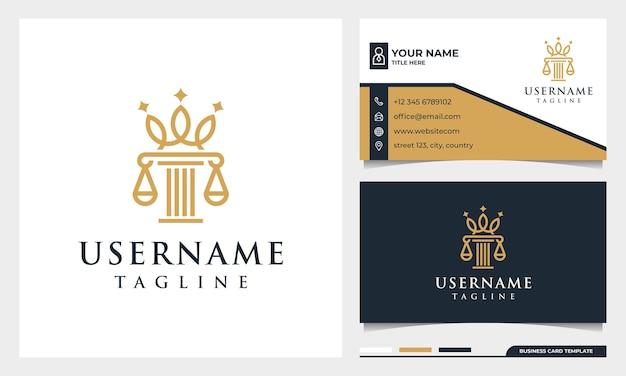 Bufete de abogados, abogado, pilar y elegancia logotipo de estilo de arte de línea de corona con plantilla de tarjeta de visita