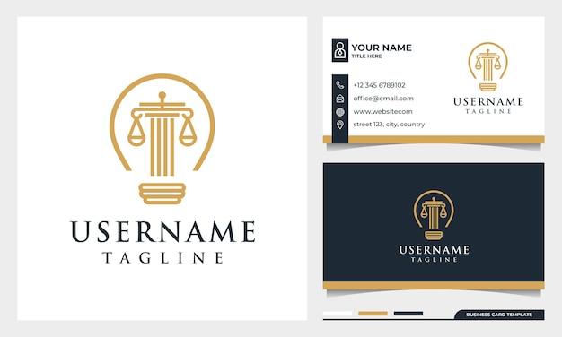 Bufete de abogados, abogado, pilar y logotipo de estilo de arte de línea de bombilla con plantilla de tarjeta de visita