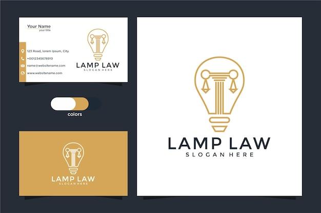 Bufete de abogados, abogado, pilar y logotipo de estilo de arte de línea de bombilla con tarjeta de visita