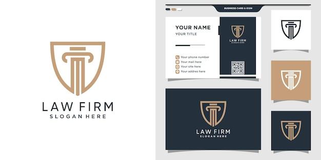 Bufete de abogados combinado con logotipo de escudo y tarjeta de presentación.