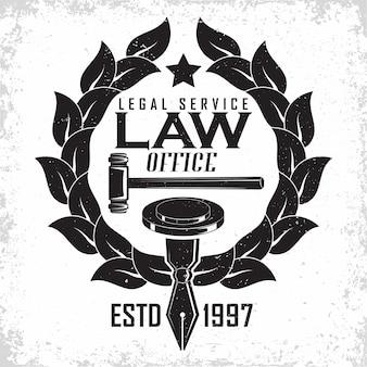 Bufete de abogados diseño de logotipo emblema de agencia de abogados o notario