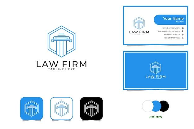 Bufete de abogados con diseño de logotipo de estilo de arte lineal y tarjeta de presentación