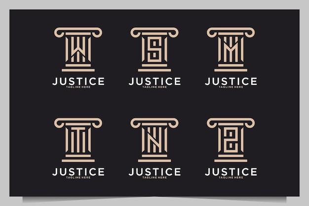 Bufete de abogados de justicia con colección de diseño de logotipo de letra monograma