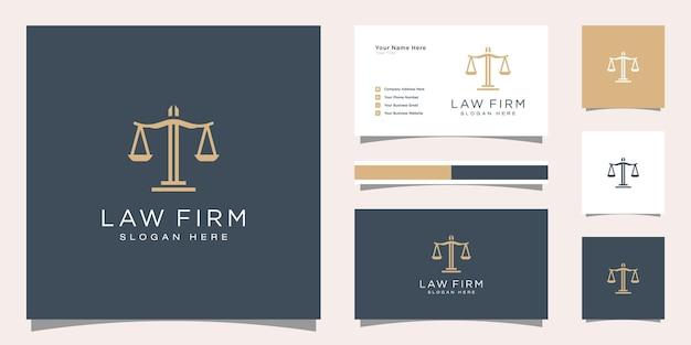 Bufete de abogados plantilla estilo lineal logotipo de la empresa y tarjeta de visita