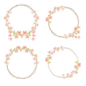 Buganvillas rosa acuarela con colección de marcos de guirnalda de ramitas secas