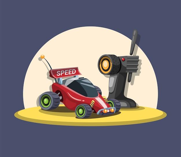 Buggy de coche rc con control remoto en concepto de arena