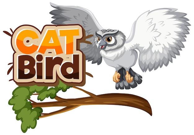 Búho blanco en personaje de dibujos animados de rama con fuente cat bird
