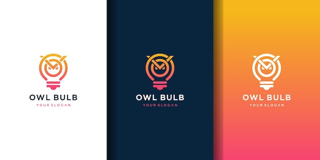 Buho bombilla lámpara idea logo creativo