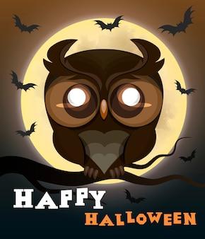 Búho del cartel de halloween