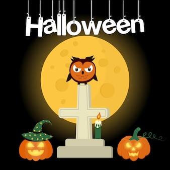 Búho enojado sentado en una tumba cruzada contra la luna con calabazas y una vela letras de halloween