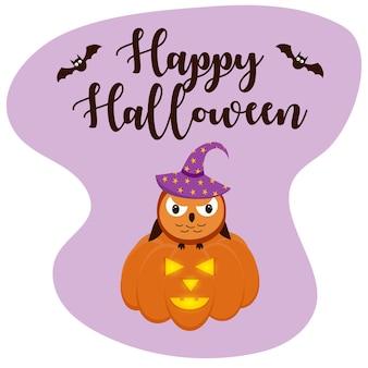 Búho enojado con un sombrero sentado sobre una calabaza. letras de halloween con murciélagos voladores.