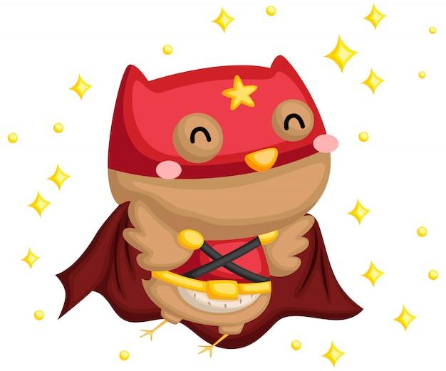 Búho feliz superhéroe