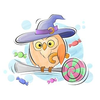 Búho halloween con sombrero mágico ilustración acuarela